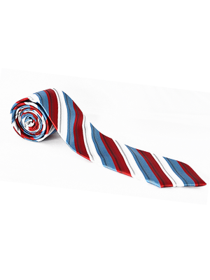 Red White and Blue Stripe Showing Tie.