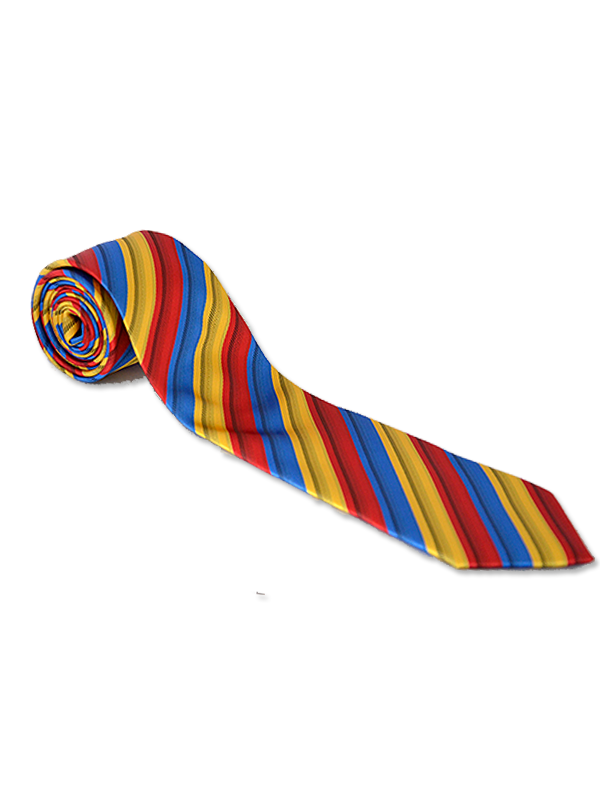 Red Yellow and Blue Stripe Showing Tie.